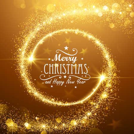 Ilustración de Christmas background with gold magic stars. Vector illustration - Imagen libre de derechos