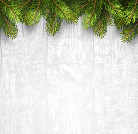 Illustrazione per Christmas wooden background with fir branches. Vector illustration - Immagini Royalty Free