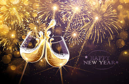 Illustration pour New Year fireworks and champagne glasses. Vector - image libre de droit