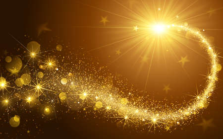 Illustration for Christmas background with gold magic star. Vector illustration - Royalty Free Image