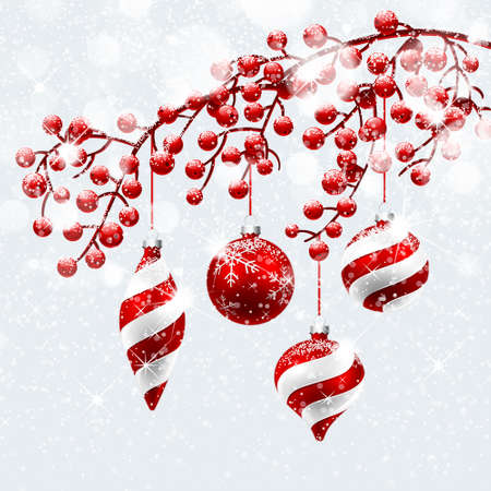 Illustration for Christmas decoration with snow and bokeh effect. Vector illustration - Royalty Free Image
