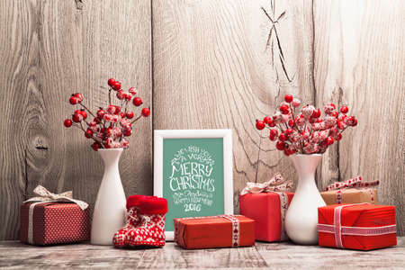 Photo for Christmas background with gifts and Christmas balls. Frame with congratulatory text - Royalty Free Image