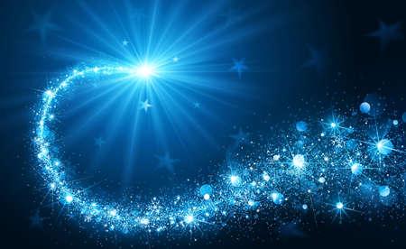 Ilustración de Christmas background with blue magic star. Vector illustration - Imagen libre de derechos