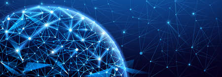 Illustration pour Global network connection. World map point, international meaning - image libre de droit