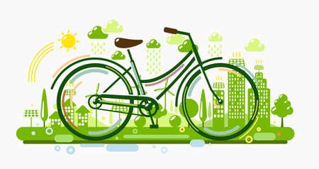 Ilustración de Bicycle with green eco city. Ecology concept illustration - Imagen libre de derechos