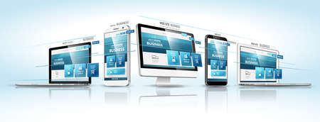 Illustration pour Modern devices with web design template. Vector illustration - image libre de droit