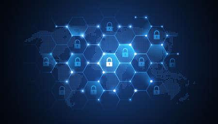 Illustration pour Internet security global network background. illustration - image libre de droit