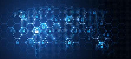 Ilustración de Global network security. Vector - Imagen libre de derechos