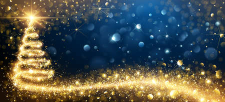 Ilustración de Greeting Card with Golden Christmas Tree design Illustration. - Imagen libre de derechos