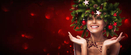 Photo for Christmas Hairstyle. Holiday Makeup - Royalty Free Image