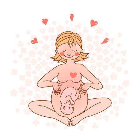 Ilustración de Illustration of a happy pregnant woman  Vector illustration  - Imagen libre de derechos