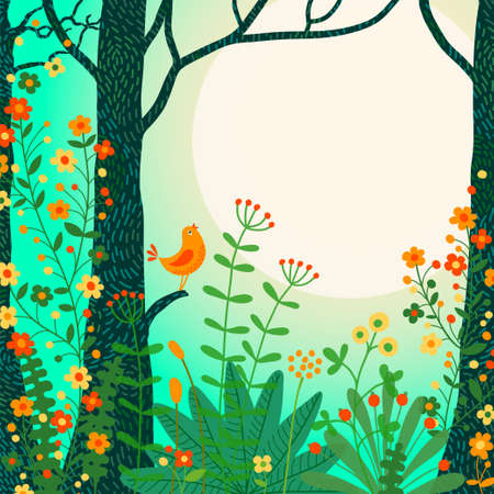 Illustration pour Forest landscape. Beautiful forest scene with bird and place for your text. Vector illustration. - image libre de droit