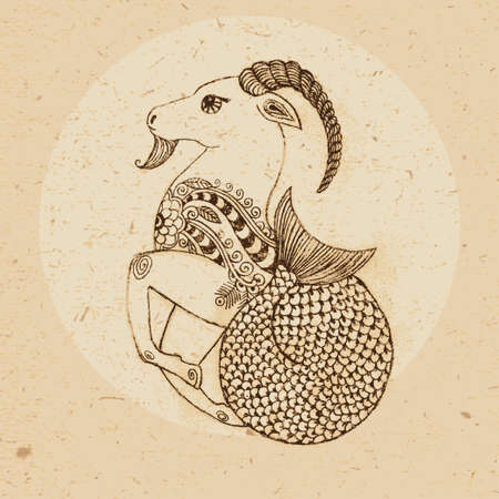 Illustration for Hand drawn Capricorn with elements of the ornament in ethnic style  Zodiac sign - Capricorn  Vector illustration  - Royalty Free Image