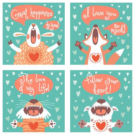 Illustration pour Set of cards with funny animals. Vector illustration. - image libre de droit