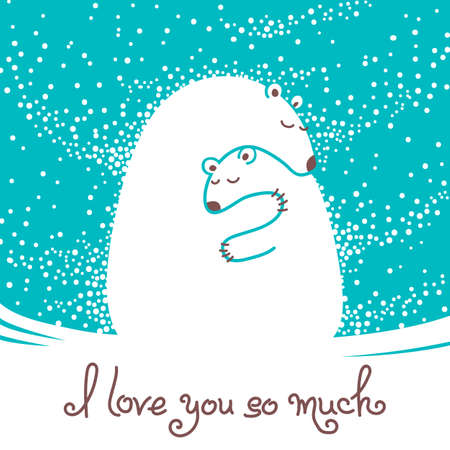 Illustration pour Greeting card with mother bear hugging her baby. Vector illustration. - image libre de droit