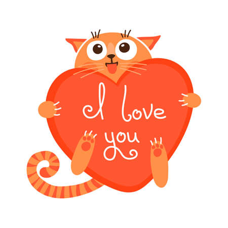 Ilustración de Cute cartoon ginger cat with heart and declaration of love illustration. - Imagen libre de derechos