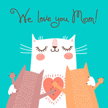 Photo pour Sweet card for Mothers Day with cats. Vector illustration. - image libre de droit