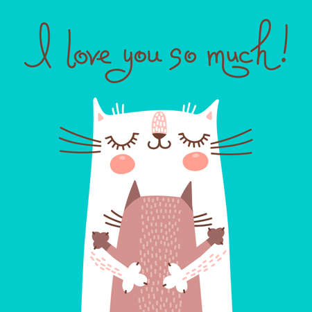 Illustration pour Sweet card for Mothers Day with cats. Vector illustration. - image libre de droit