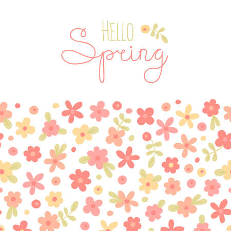 Ilustración de Sizon card Hello Spring with cute flowers. Vector illustration. - Imagen libre de derechos