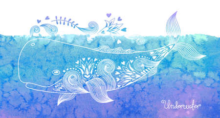 Illustration for Watercolor card with happy whale and patterns. Vector illustration. - Royalty Free Image