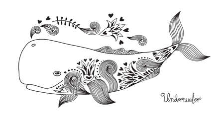 Illustration for Tattoo Print Happy Whale with Patterns. Vector Illustration. - Royalty Free Image