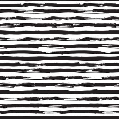 Illustration pour Vector seamless pattern with black brush strokes. Monochrome hand drawn texture. Modern graphic design made with ink. - image libre de droit