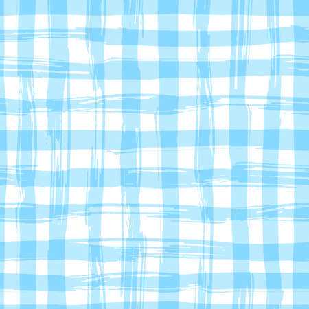 Illustration pour seamless pattern with square hand drawn texture. Blue checkered tablecloth. - image libre de droit