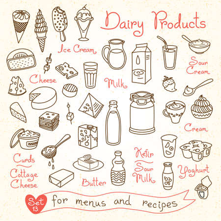 Illustration pour Set drawings of milk and dairy products for design menus, recipes and packages product. Vector Illustration. - image libre de droit