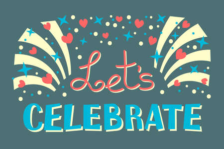 Ilustración de Let's Celebration Invitation Background on Party Time Vector Illustration - Imagen libre de derechos