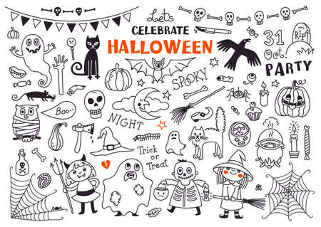 Illustrazione per Halloween Drawings Vector Set  of  Design Elements - Immagini Royalty Free