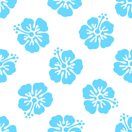 Illustration pour Floral seamless pattern with hibiscus flowers. Vector background. Tropical summer illustration - image libre de droit