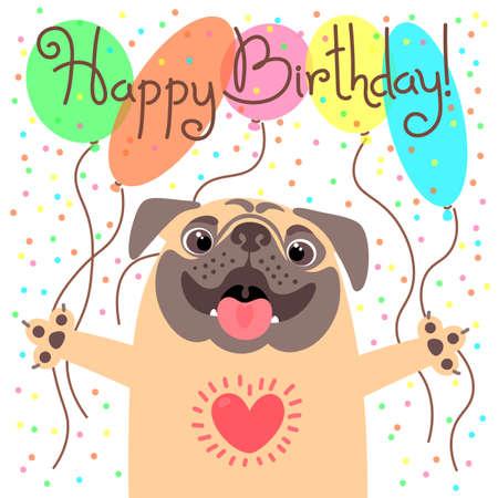 Ilustración de Cute happy birthday card with funny puppy. - Imagen libre de derechos