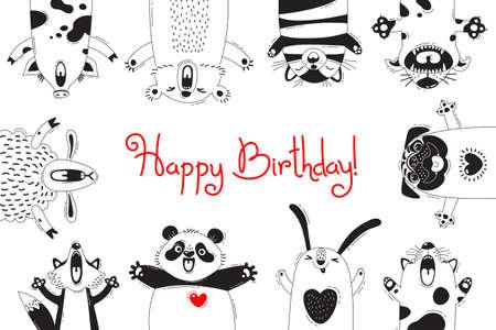Illustration pour Birthday Card with Funny Animals Pig Bear Fox Sheep Cat Pug Panda Rabbit - image libre de droit