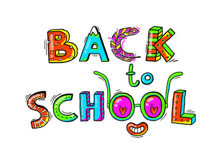 Illustration for Back to School hand drawn words in a fun cartoon style.Vector illustration - Royalty Free Image