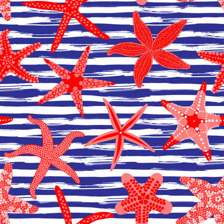 Ilustración de Sea stars seamless pattern. Marine backgrounds with starfishes and striped brush strokes. Starfish underwater invertebrate animal. Vector illustration - Imagen libre de derechos