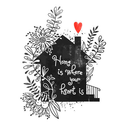 Ilustración de Hand drawn typography poster. Vector illustration with black house silhouette, floral elements and text Home is where your heart is. Vintage card with house and flowers. - Imagen libre de derechos