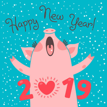 Ilustración de Happy 2019 New Year card. Funny piglet congratulates on holiday. Pig Chinese zodiac symbol of the year. Vector illustration in cartoon style - Imagen libre de derechos