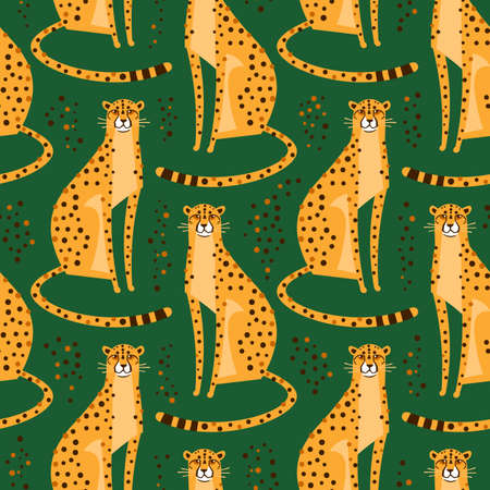 Illustration pour Seamless pattern with cheetahs, leopards. Repeated exotic wild cats on a green background. Vector illustration - image libre de droit