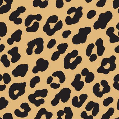 Ilustración de Leopard print. Brown black fur seamless pattern. Vector illustration background - Imagen libre de derechos