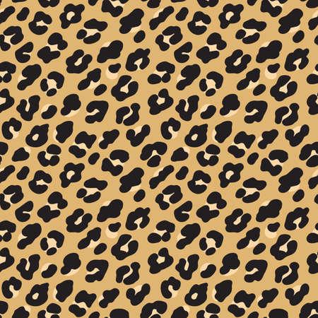 Illustrazione per Leopard print. Brown black fur seamless pattern. Vector illustration background - Immagini Royalty Free