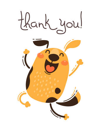 Ilustración de Funny dog says thank you. Vector illustration in cartoon style. - Imagen libre de derechos