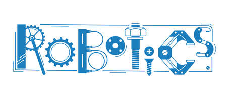 Illustration pour Robotics word. The inscription and letters are stylized in the form of details of robots and mechanisms. Vector illustration. - image libre de droit