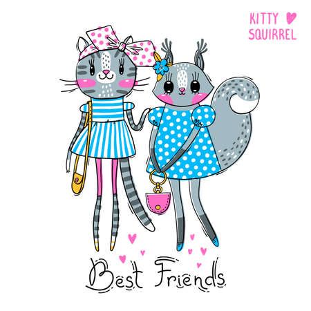 Illustration pour Cute card with best friends. Fashion girls. Baby kitten and squirrel in fashionable clothes. Can be used for t-shirt print, kids wear design. Vector illustration. - image libre de droit