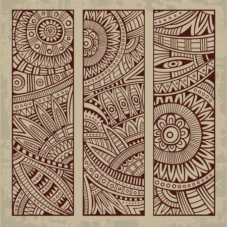 Ilustración de Abstract vector hand drawn vintage ethnic pattern card set. - Imagen libre de derechos