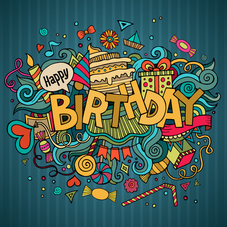 Ilustración de Birthday hand lettering and doodles elements background. - Imagen libre de derechos