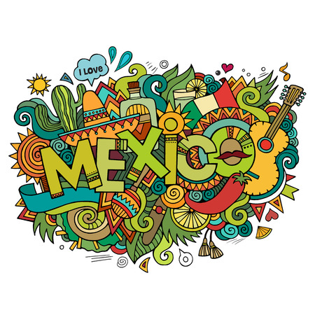 Illustration for Mexico hand lettering and doodles elements background - Royalty Free Image