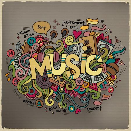 Illustration pour Music hand lettering and doodles elements background - image libre de droit