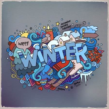 Illustration for Winter hand lettering and doodles elements background - Royalty Free Image