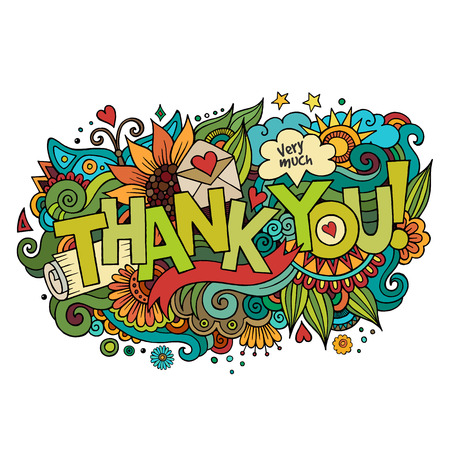 Illustration for Thank You hand lettering and doodles elements background. Vector illustration - Royalty Free Image