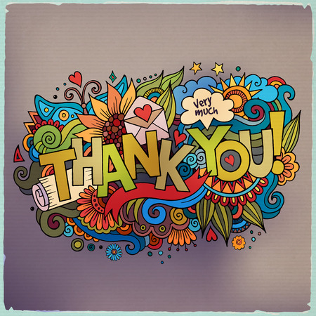 Ilustración de Thank You hand lettering and doodles elements background - Imagen libre de derechos